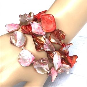 Seashell coral red strand bracelet shell pearl